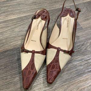Amalfi snakeskin kitten heels